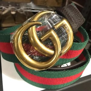 GUCCIxNYLON WEB BELT WITH SMALL LEATHER